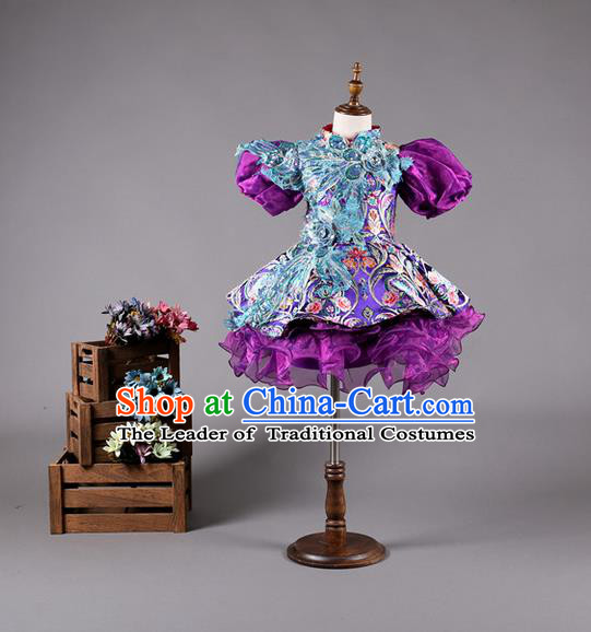 Top Grade Compere Professional Performance Catwalks Costume, China Tang Suit Cheongsam Children Chorus Formal Dress Modern Dance Baby Princess Modern Fancywork Bubble Dress for Girls Kids