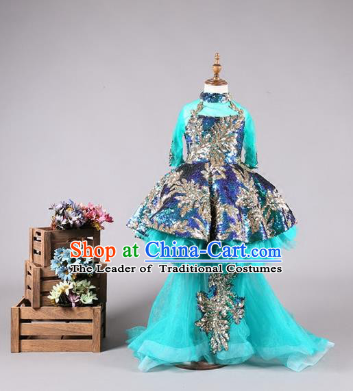Top Grade Compere Professional Performance Catwalks Costume, Children Chorus Wedding Blue Long Trailing Bubble Full Dress Modern Dance Baby Princess Modern Fancywork Ball Gown Dress for Girls