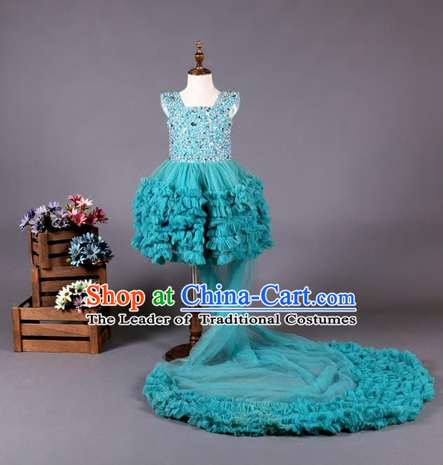 Top Grade Compere Professional Performance Catwalks Costume, Children Chorus Blue Long Trailing Wedding Bubble Full Dress Modern Dance Baby Princess Modern Fancywork Ball Gown Dress for Girls