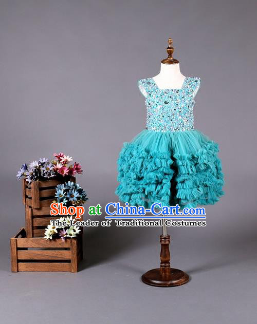 Top Grade Compere Professional Performance Catwalks Costume, Children Chorus Blue Wedding Bubble Full Dress Modern Dance Baby Princess Modern Fancywork Ball Gown Dress for Girls