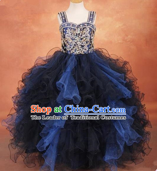 Top Grade Compere Professional Performance Catwalks Costume, Children Chorus Bubble Full Dress Modern Dance Baby Princess Modern Fancywork Ball Gown Dress for Girls