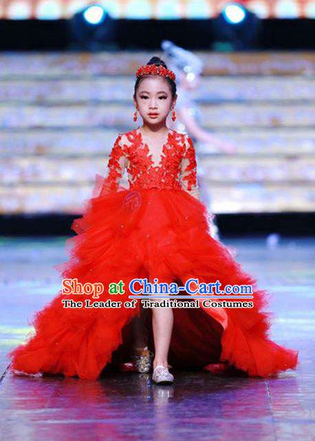 Top Grade Compere Professional Performance Catwalks Costume, China Tang Suit Cheongsam Children Chorus Red Wedding Bubble Full Dress Modern Dance Baby Princess Modern Fancywork Ball Gown Long Trailing Dress for Girls