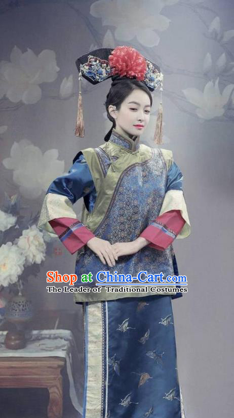 Traditional Ancient Chinese Qing Dynasty Princess Costume and Handmade Headpiece Complete Set, Chinese Manchu Princess Dress Imperial Consort Clothing for Women