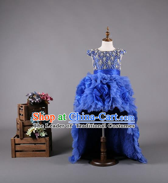 Top Grade Compere Professional Performance Catwalks Costume, Children Chorus Blue Bubble Formal Dress Modern Dance Baby Princess Ball Gown Modern Fancywork Long Trailing Dress for Girls Kids