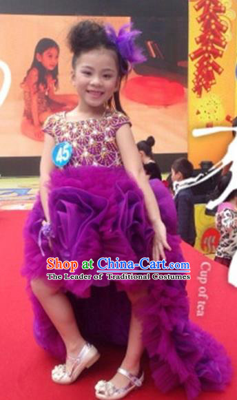 Top Grade Compere Professional Performance Catwalks Costume, Children Chorus Purple Bubble Formal Dress Modern Dance Baby Princess Ball Gown Modern Fancywork Long Trailing Dress for Girls Kids