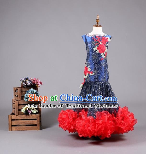 Top Grade Compere Professional Performance Catwalks Costume, Children Chorus Fishtail Formal Dress Modern Dance Baby Princess Mermaid Full Dress Modern Fancywork Long Dress for Girls Kids