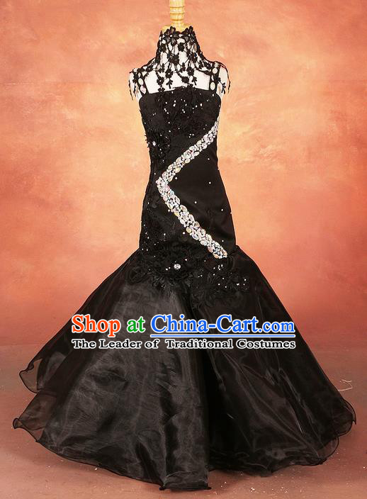 Top Grade Compere Professional Performance Catwalks Costume, Children Chorus Black Fishtail Formal Dress Modern Dance Baby Princess Mermaid Full Dress Modern Fancywork Long Dress for Girls Kids