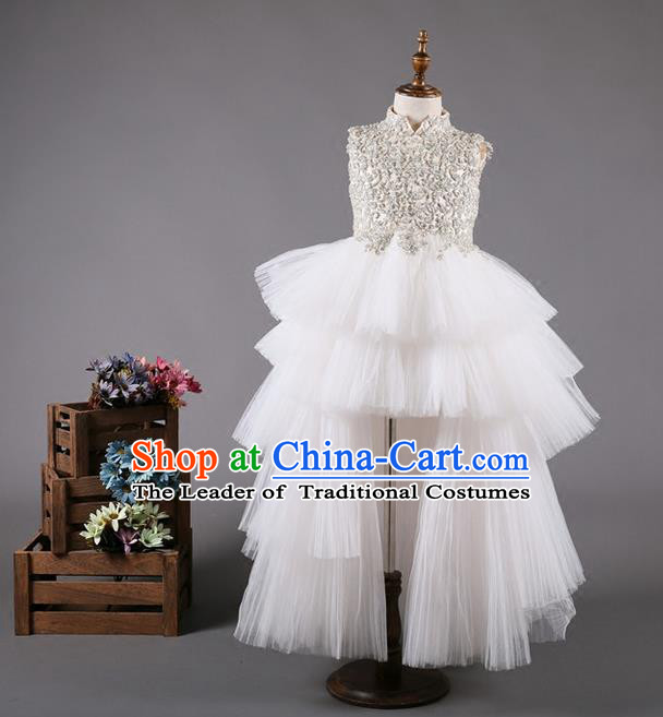 Top Grade Compere Professional Performance Catwalks Costume, Children Chorus White Bubble Full Dress Modern Dance Baby Princess Modern Fancywork Long Trailing Dress for Girls Kids