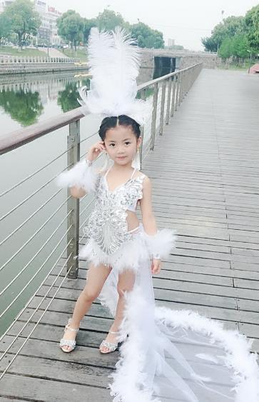 Top Grade Compere Professional Performance Catwalks Swimsuit Costume, Children Chorus Ostrich Feather Formal Dress Modern Dance Modern Fancywork Long Trailing Dress for Girls Kids