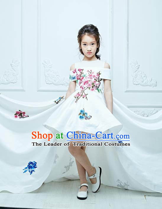 Top Grade Compere Professional Performance Catwalks Costume, Children Chorus White Bubble Full Dress Modern Dance Baby Princess Modern Fancywork Ball Gown Long Trailing Dress for Girls Kids