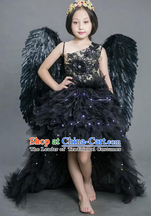 Top Grade Compere Professional Performance Catwalks Costume, Children Chorus Black Feathers Bubble Full Dress With Wings Modern Dance Baby Princess Modern Fancywork Ball Gown Long Trailing Dress for Girls Kids