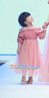 Top Grade Compere Professional Performance Catwalks Parent-child Costume, Children Chorus Pink Bubble Full Dress Modern Dance Baby Princess Modern Fancywork Ball Gown Long Dress for Women for Kids
