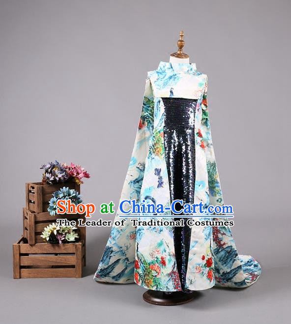 Top Grade Compere Professional Performance Catwalks Costume, Children Chorus China Style Cheongsam Full Dress Modern Dance Baby Princess Modern Fancywork Long Trailing Dress for Girls Kids