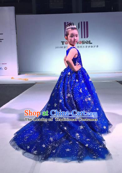 Top Grade Compere Professional Performance Catwalks Costume, Children Chorus Blue Wedding Full Dress Modern Dance Baby Princess Modern Fancywork Long Trailing Dress for Girls Kids