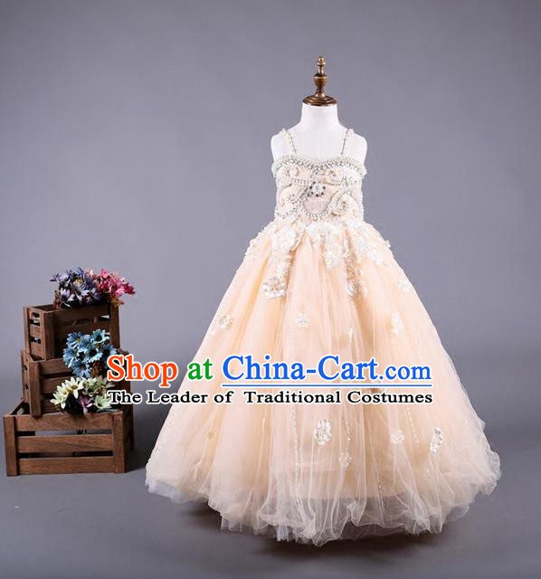 Top Grade Compere Professional Performance Catwalks Costume, Children Chorus Champagne Wedding Veil Full Dress Modern Dance Baby Princess Modern Fancywork Long Dress for Girls Kids