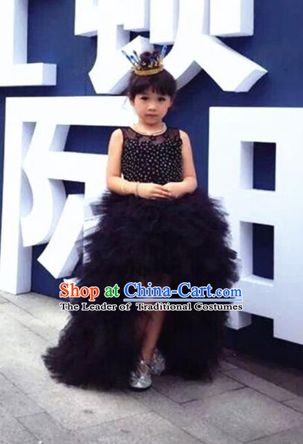 Top Grade Compere Professional Performance Catwalks Costume, Children Chorus Black Full Dress Ball Gown Modern Dance Baby Princess Modern Fancywork Long Trailing Dress for Girls Kids