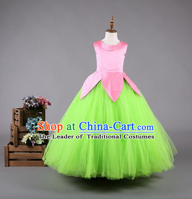 Top Grade Compere Professional Performance Catwalks Costume, Children Chorus Green Wedding Veil Full Dress Modern Dance Baby Princess Modern Fancywork Long Dress for Girls Kids