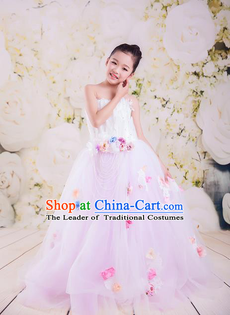 Top Grade Compere Professional Performance Catwalks Costume, Children Chorus Customize Pink Bubble Full Dress Modern Dance Baby Princess Modern Fancywork Ball Gown Long Dress for Girls Kids