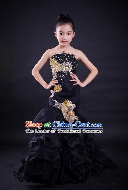 Top Grade Compere Professional Performance Catwalks Costume, Children Chorus Customize Black Cheongsam Fishtail Full Dress Modern Dance Baby Princess Modern Fancywork Ball Gown Long Mermaid Dress for Girls Kids