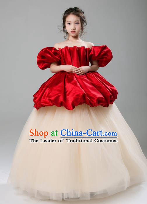 Top Grade Compere Professional Performance Catwalks Costume, Children Chorus Customize Bubble Full Dress Modern Dance Baby Princess Modern Fancywork Ball Gown Long Dress for Girls Kids