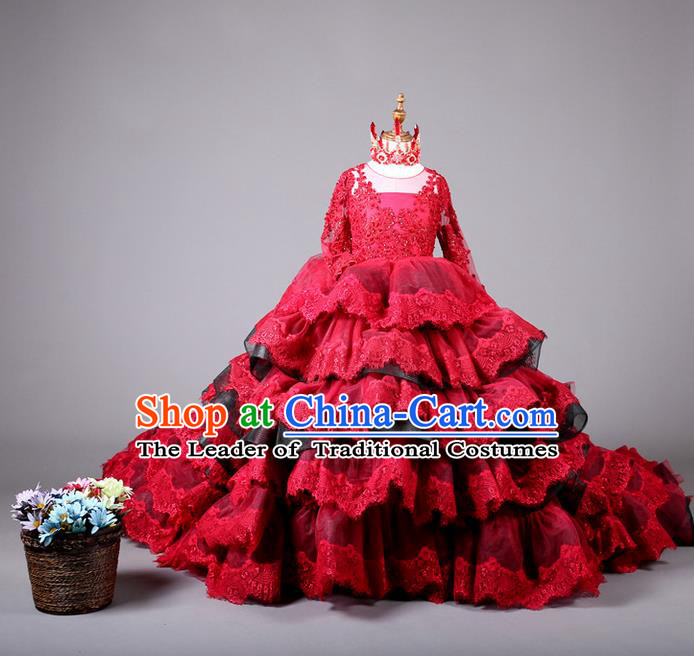 Top Grade Compere Professional Performance Catwalks Costume, Children Chorus Customize Red Bubble Full Dress Modern Dance Baby Princess Modern Fancywork Ball Gown Layered Dress for Girls Kids