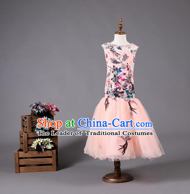 Top Grade Compere Professional Performance Catwalks Costume, Children Chorus Pink Fishtail Cheongsam Full Dress Modern Dance Baby Princess Modern Fancywork Ball Gown Long Mermaid Dress for Girls Kids