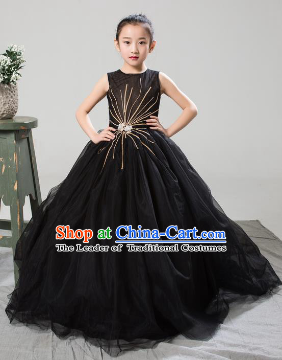 Top Grade Compere Professional Performance Catwalks Costume, Children Chorus Customize Black Bubble Full Dress Modern Dance Baby Princess Modern Fancywork Long Trailing Dress for Girls Kids