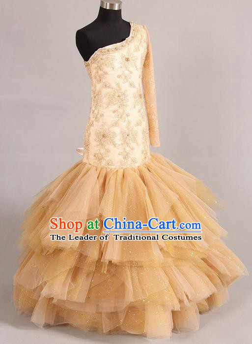Top Grade Compere Professional Performance Catwalks Costume, Children Chorus Pink Bubble Veil Fishtail Formal Dress Modern Dance Baby Princess Modern Fancywork Ball Gown Long Mermaid Dress for Girls Kids