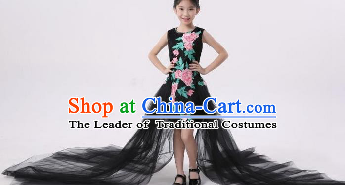 Top Grade Compere Professional Performance Catwalks Costume, Children Chorus Customize Black Full Dress Modern Dance Baby Princess Modern Fancywork Long Trailing Dress for Girls Kids