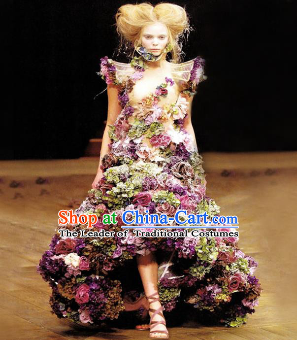 Top Grade Compere Professional Performance Catwalks Costume, Children Chorus Handmade Customize Long Trailing Flowers Full Dress Modern Dance Baby Princess Modern Fancywork Ball Gown Dress for Girls Kids