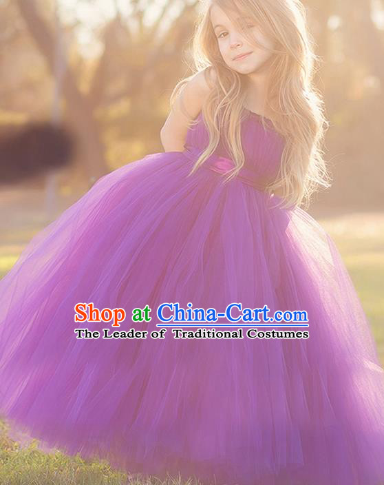 Top Grade Compere Professional Performance Catwalks Costume, Children Chorus Handmade Customize Purple Bubble Full Dress Modern Dance Baby Princess Modern Fancywork Ball Gown Dress for Girls Kids