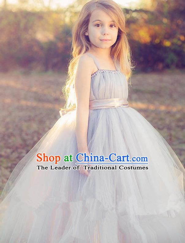 Top Grade Compere Professional Performance Catwalks Costume, Children Chorus Handmade Customize Grey Bubble Full Dress Modern Dance Baby Princess Modern Fancywork Ball Gown Dress for Girls Kids