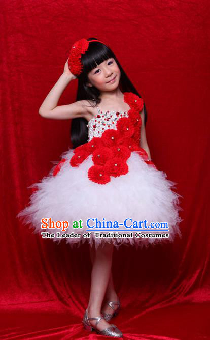 Top Grade Compere Professional Performance Catwalks Costume, Children Chorus Handmade Customize White Veil Bubble Full Dress Modern Dance Baby Princess Modern Fancywork Ball Gown Dress for Girls Kids