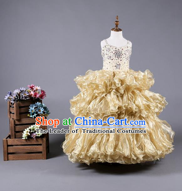 Top Grade Compere Professional Performance Catwalks Costume, Children Chorus Handmade Customize Flowers Full Dress Modern Dance Baby Princess Modern Fancywork Ball Gown Dress for Girls Kids