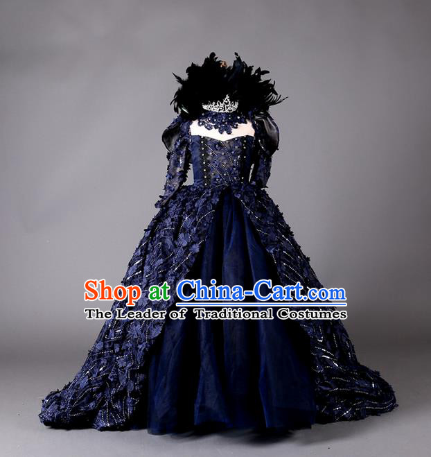 Top Grade Compere Professional Performance Catwalks Costume, Children Chorus Handmade Customize Blue Full Dress Modern Dance Baby Queen Modern Fancywork Ball Gown Long Trailing Dress for Girls Kids