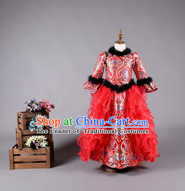Top Grade Compere Professional Performance Catwalks Costume, China Tang Suit Red Cheongsam Children Chorus Formal Dress Modern Dance Baby Princess Modern Fancywork Long Trailing Dress for Girls Kids