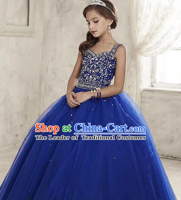 Top Grade Compere Professional Performance Catwalks Costume, Children Chorus Handmade Customize Blue Veil Crystal Bubble Full Dress Modern Dance Baby Princess Modern Fancywork Ball Gown Long Dress for Girls Kids