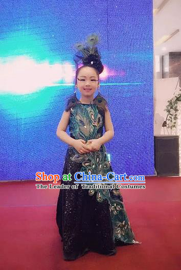 Top Grade Compere Professional Performance Catwalks Costume, Children Chorus Handmade Customize Blue Feather Peacock Full Dress Modern Dance Baby Princess Modern Fancywork Ball Gown Long Trailing Dress for Girls Kids