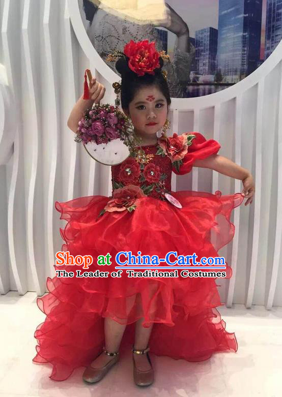 Top Grade Compere Professional Performance Catwalks Costume, Children Chorus Handmade Customize Red Full Dress Modern Dance Baby Princess Modern Fancywork Ball Gown Long Trailing Dress for Girls Kids