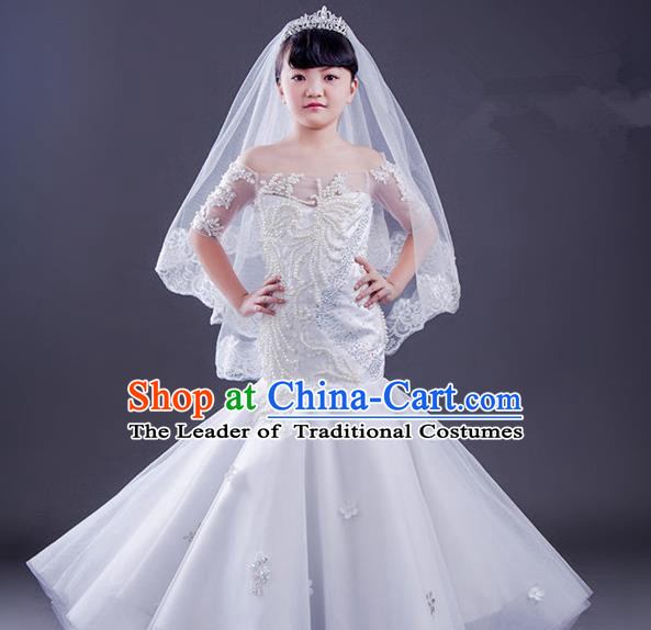 Top Grade Compere Professional Performance Catwalks Costume, Children Chorus White Fishtail Wedding Full Dress Modern Dance Baby Princess Modern Fancywork Ball Gown Long Mermaid Dress for Girls Kids