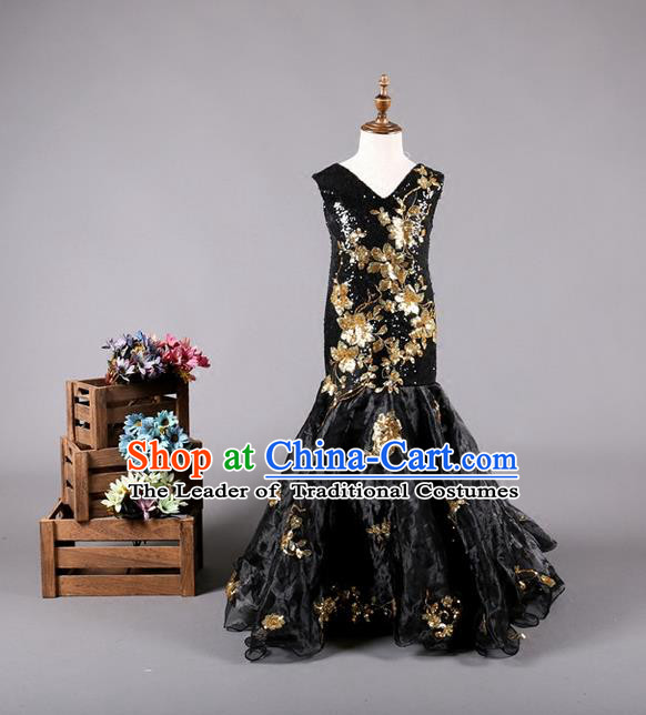 Top Grade Compere Professional Performance Catwalks Costume, Children Chorus Customize Black Fishtail Formal Dress Modern Dance Baby Princess Modern Fancywork Ball Gown Long Mermaid Dress for Girls Kids