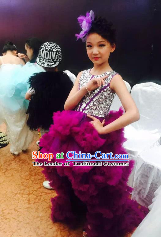 Top Grade Compere Professional Performance Catwalks Costume, Children Chorus Customize Purple Bubble Formal Dress Modern Dance Baby Princess Modern Fancywork Ball Gown Long Trailing Dress for Girls Kids