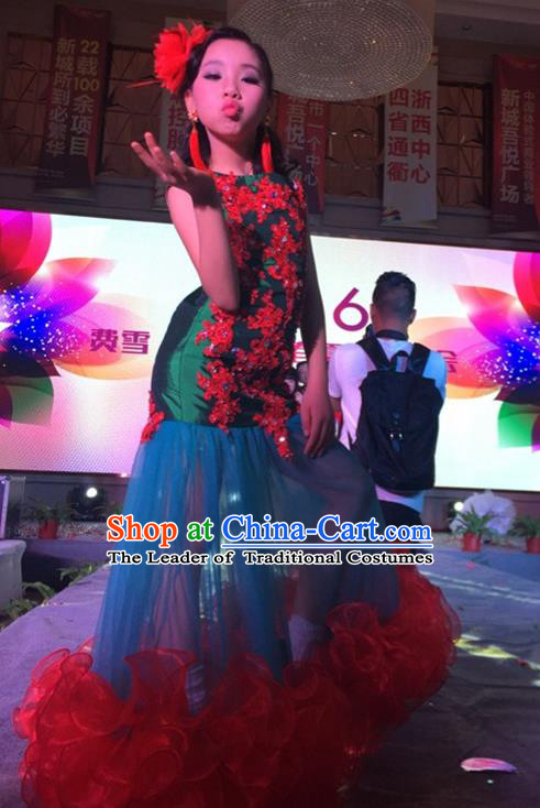 Top Grade Compere Professional Performance Catwalks Costume, Children Chorus Customize Fishtail Bubble Formal Dress Modern Dance Baby Princess Modern Fancywork Ball Gown Long Trailing Mermaid Dress for Girls Kids