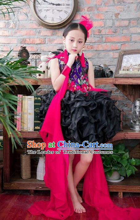 Top Grade Compere Professional Performance Catwalks Costume, Children Chorus China Style Cheongsam Formal Dress Modern Dance Baby Princess Modern Fancywork Long Trailing Dress for Girls Kids