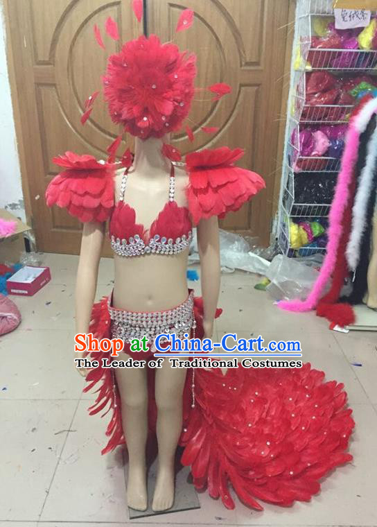 Top Grade Compere Professional Performance Catwalks Swimsuit Costume, Children Chorus Customize Red Full Dress Modern Dance Baby Princess Modern Fancywork Long Trailing Clothing for Girls Kids