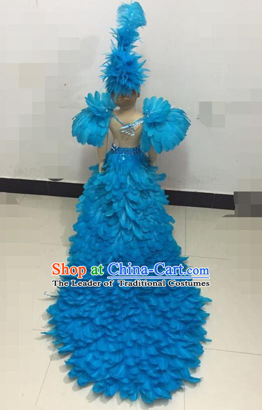 Top Grade Compere Professional Performance Catwalks Swimsuit Costume, Children Chorus Customize Blue Feather Full Dress Modern Dance Baby Princess Modern Fancywork Long Trailing Clothing for Girls Kids