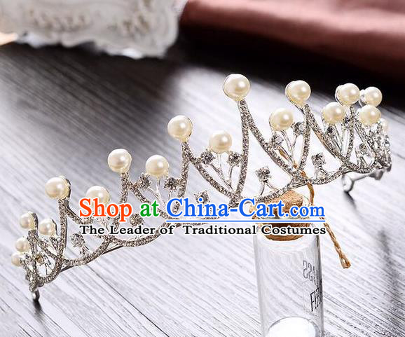Top Grade Handmade Classical Hair Accessories, Children Baroque Style Pearl Princess Wedding Royal Crown Hair Jewellery Hair Clasp for Kids Girls