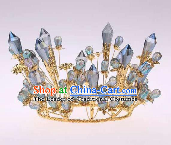 Top Grade Handmade Classical Hair Accessories, Children Baroque Style Crystal Queen Wedding Royal Crown Hair Jewellery Hair Clasp for Kids Girls