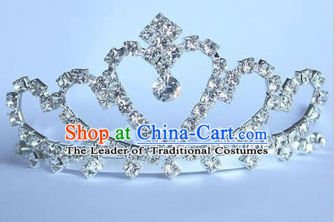Top Grade Handmade Classical Hair Accessories, Children Baroque Style Wedding Crystal Royal Crown Hair Jewellery Hair Clasp for Kids Girls