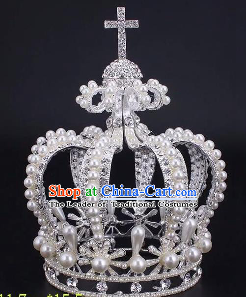 Top Grade Handmade Classical Hair Accessories, Children Baroque Style Wedding Silver Pearl Royal Crown Hair Jewellery Hair Clasp for Kids Girls